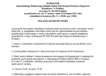 Ogłoszenie o konkursie ofert na świadczenia zdrowotne 05.06.2019r